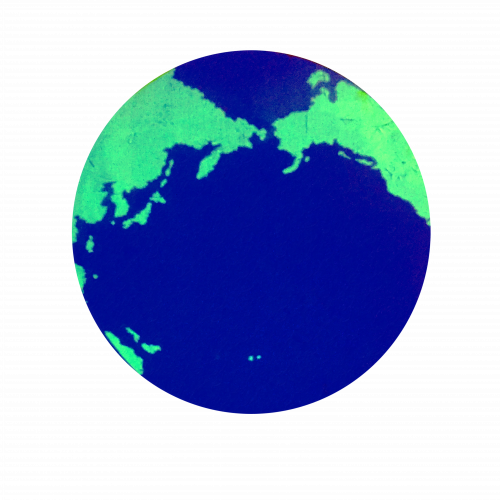 Shadow Earth, Earth image composed of blue oceans and green continents