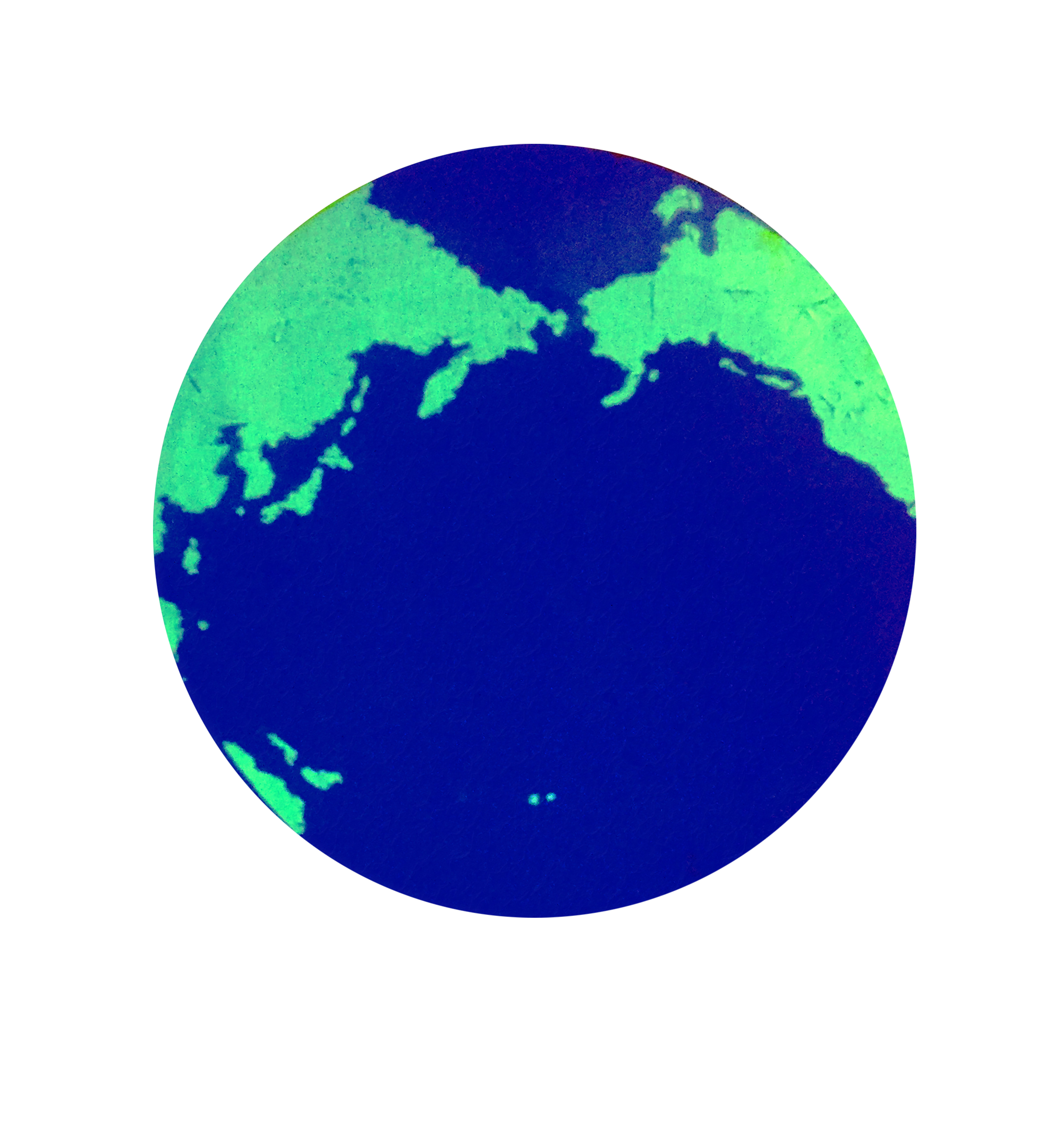 Earth image composed of blue ocean and green continents