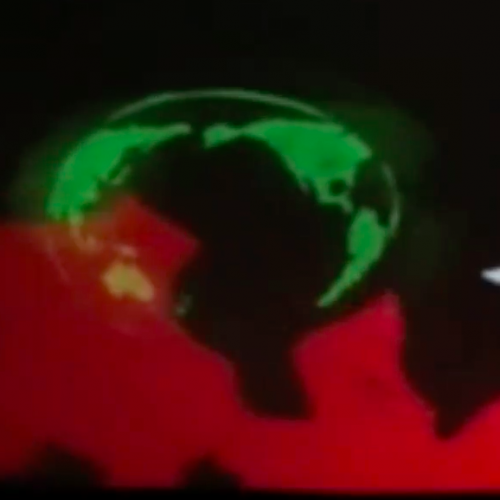 SOS, A red fire stretches across the bottom of the image. A green earth above  is being singed by the fire. An S is carved in white on either side of the earth so that the earth becomes the O in the  message reads SOS