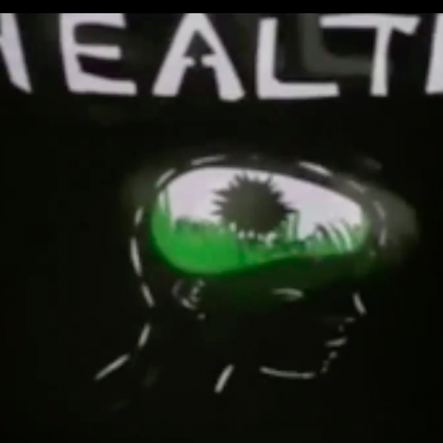 Health, Health reads across the top in white letters.   A black flower like a dandelion grows among green grass in the bean or brain shaped space in a head carved into the black background.